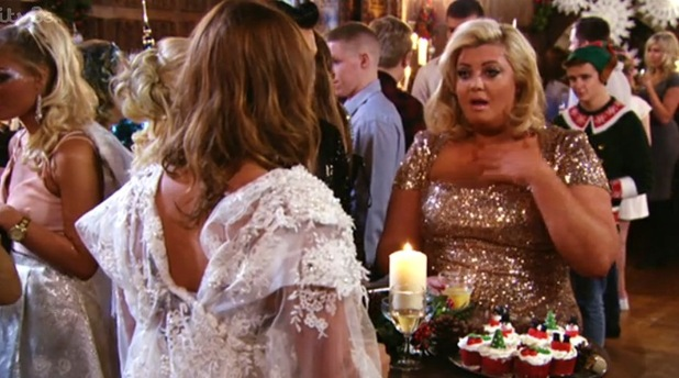 Gemma Collins and Ferne McCann in TOWIE Christmas special, 10 December 2014.