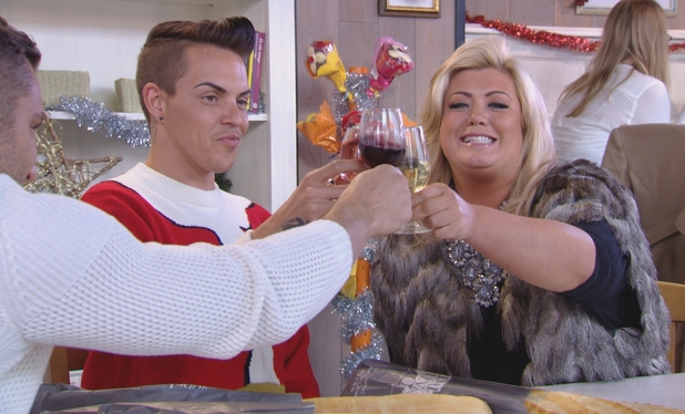 TOWIE's Gemma toasts her return with Bobby and Elliott on The Only Way Is Essexmas. 10 December 2014.