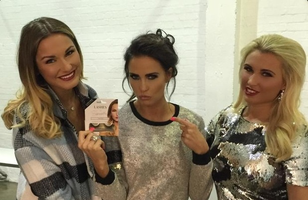 Katie Price, Billie Faiers and Sam Faiers pose for a Twitter photo - 11 December 2014