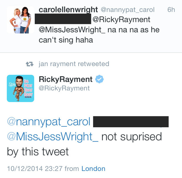 TOWIE's Carol Wright makes joke about Ricky Rayment's singing voice - 11 Dec 2014