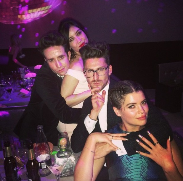 Pixie Geldof poses with Nick Grimshaw, Daisy Lowe and Henry Holland at British Fashion Awards, 1 December 2014