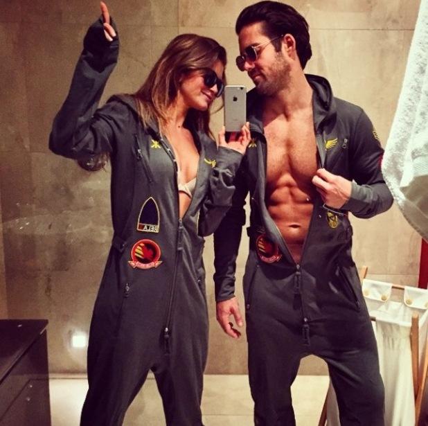 Spencer Matthews and girlfriend Lauren in matching jumpsuits - 8 December 2014.