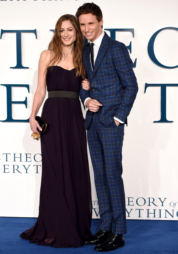 Eddie Redmayne and fiancee Hannah Bagshawe attend UK premiere of The Theory of Everything, London 9 December