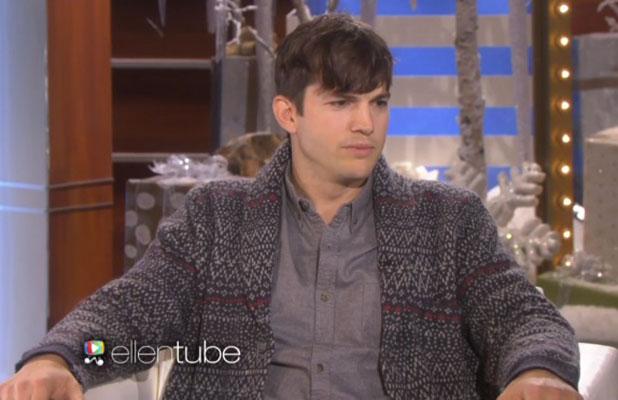 Ashton Kutcher appearing on Ellen DeGeneres Show, 12 December 2014