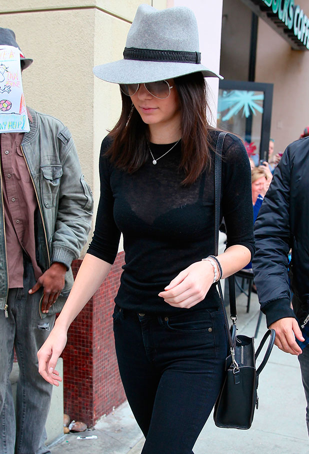 Kendall Jenner has lunch with Kourtney and Scott Disick at Nate 'n Al of Beverly Hills Delicatessen, 7 December 2014