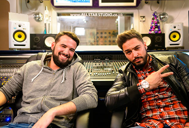 Ricky Rayment and Mario Falcone at the recording studio in Chelmsford, Essex 25 Nov 2014
