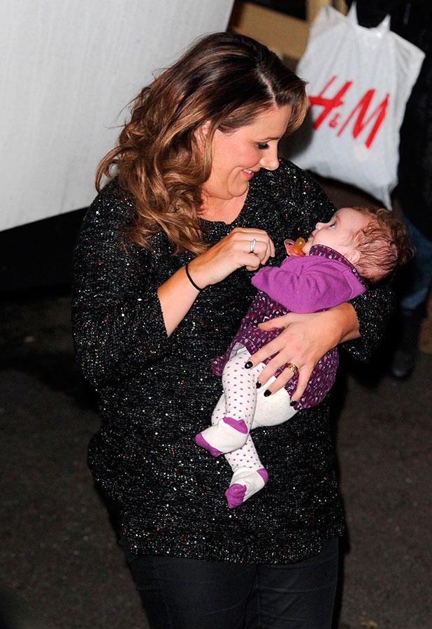 Sam Bailey and daughter Miley leave Fountain studios after the semi-final results show, 7 December 2014