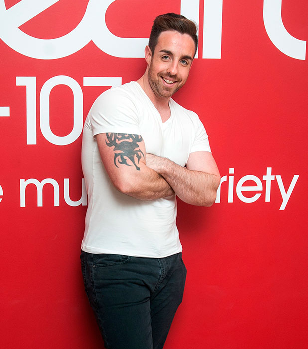 Stevi Ritchie pictured as Heart London Breakfast show hosts Jamie Theakston and Emma Bunton unveil their X Factor Xmas Choir at Heart Studios, Leicester Square, 12 December 2014