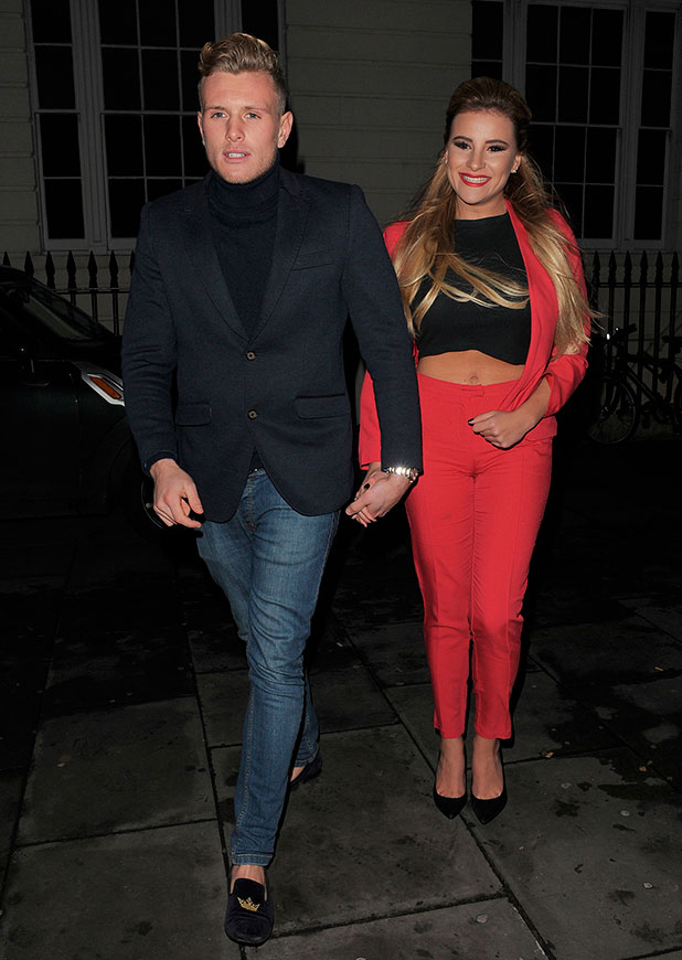 Georgia Kousoulou and Tommy Mallet and 'The Only Way Is Essex' cast attend the Christmas wrap party, 11 December 2014