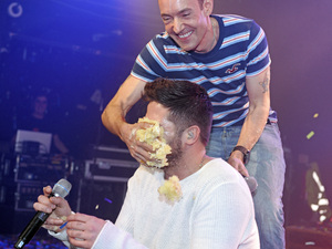 The X Factor winner Ben Haenow gets smothered in cake at G-A-Y gig