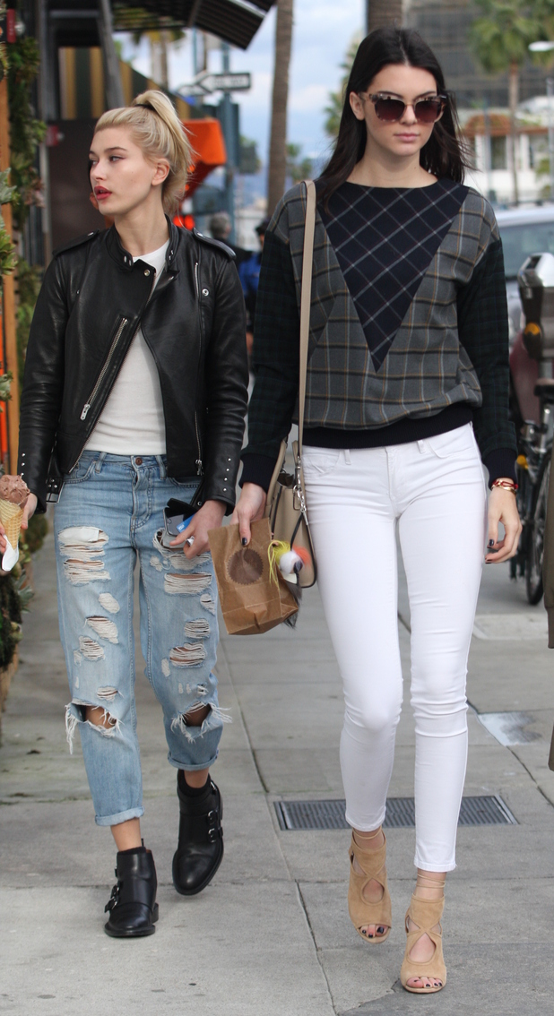 Kendall Jenner and Hailey Baldwin step out in Los Angeles, America - 17 December 2014
