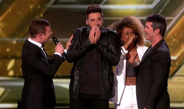 Simon Cowell congratulates X Factor winner Ben Haenow, ITV 14 December