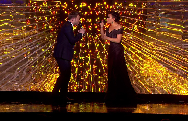 Demi Lovato and Olly Murs perform on The X Factor final, ITV 14 December