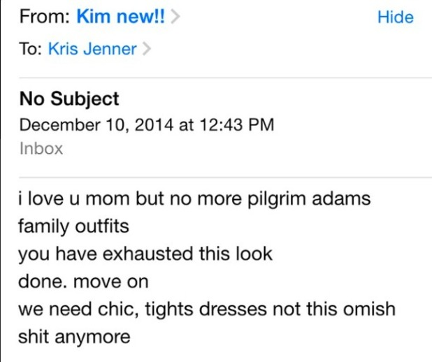 Kris Jenner shares email from daughter Kim Kardashian criticising her clothes, 19 December 2014