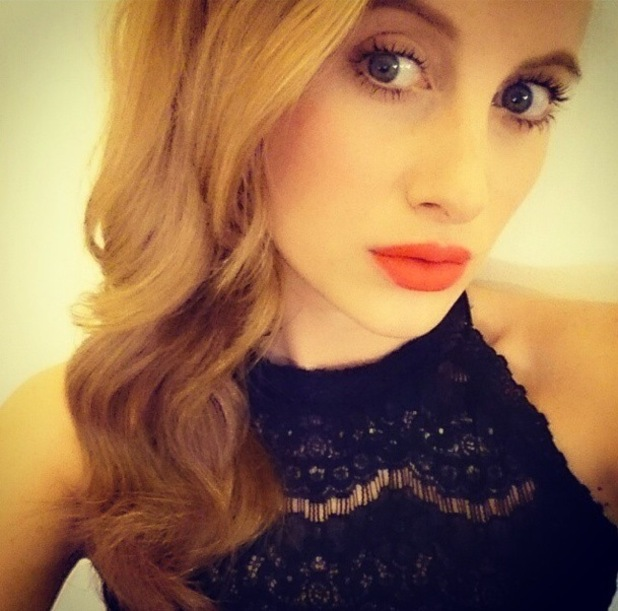 Rosie Fortescue wears NARS Velvet Matte Lip Pencil in Red Square while preparing to film the Made In Chelsea studio show - 16 December 2014
