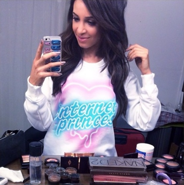 Danielle Peazer shows off her make-up in a dressing table picture - 17 December 2014
