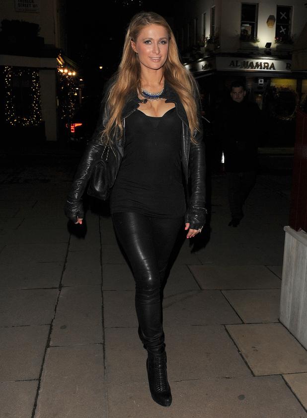 Paris Hilton Teams Leather Trousers With Biker Jacket