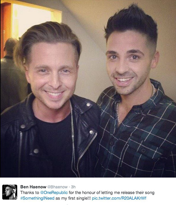 Ben Haenow with One Republic's Ryan Tedder, December 2014