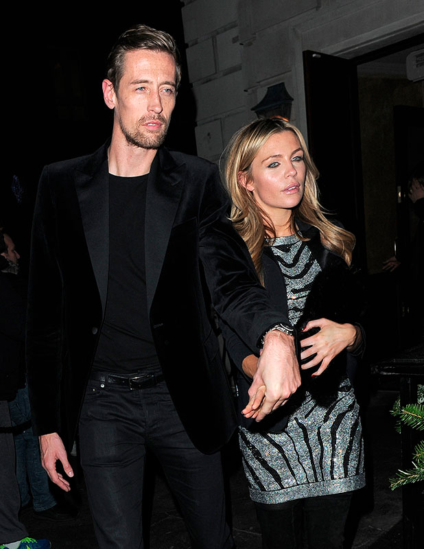 Abbey Clancy and Peter Crouch at LOVE Magazine/Balmain Christmas Party at The Ivy Market Grill - Arrivals, 15 December 2014