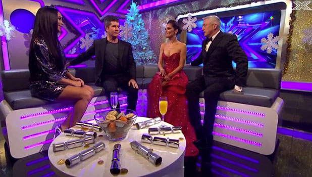 Xtra Factor: Simon Cowell, Cheryl Fernandez-Versini and Louis Walsh on show after finale, 14 December 2014