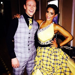 Frankie Bridge and Kevin Clifton post-Strictly performance 16 November