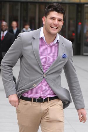 Mark Wright, winner of The Apprentice 2014 and runner up Bianca Miller outside BBC Broadcasting House - 22 December 2014.