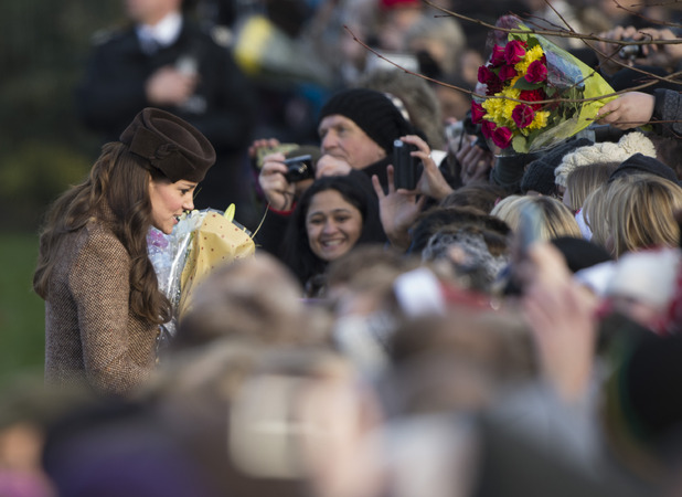 Pregnant Catherine Duchess of Cambridge attends the Christmas Day church service at Sandringham, Norfolk, 2014.