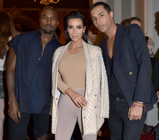 Kanye West, Kim Kardashian and Olivier Rousteing attend 'Balmain' After Party on September 25, 2014 in Paris, France.