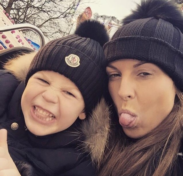 Coleen Rooney poses with son Kai at Winter Wonderland - 22 Dec 2014