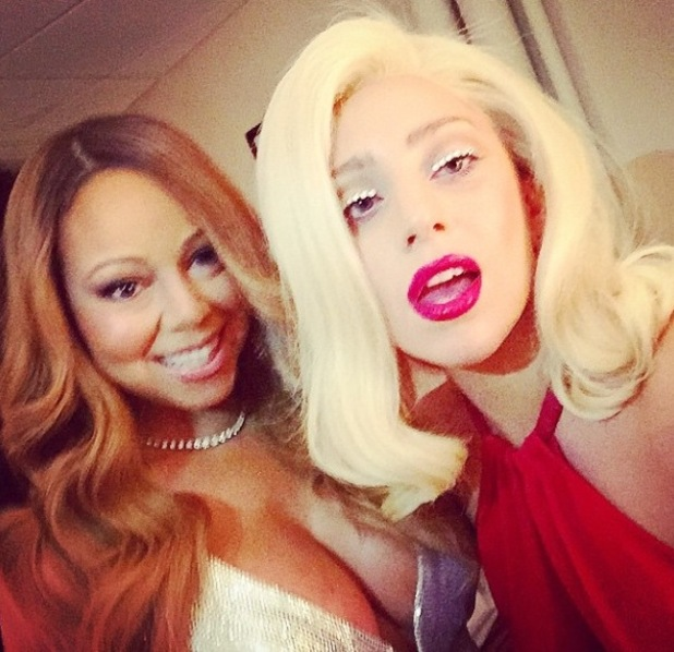 Mariah Carey and Lady Gaga pose for selfie backstage at the Beacon Theatre, New York City - 22 December.
