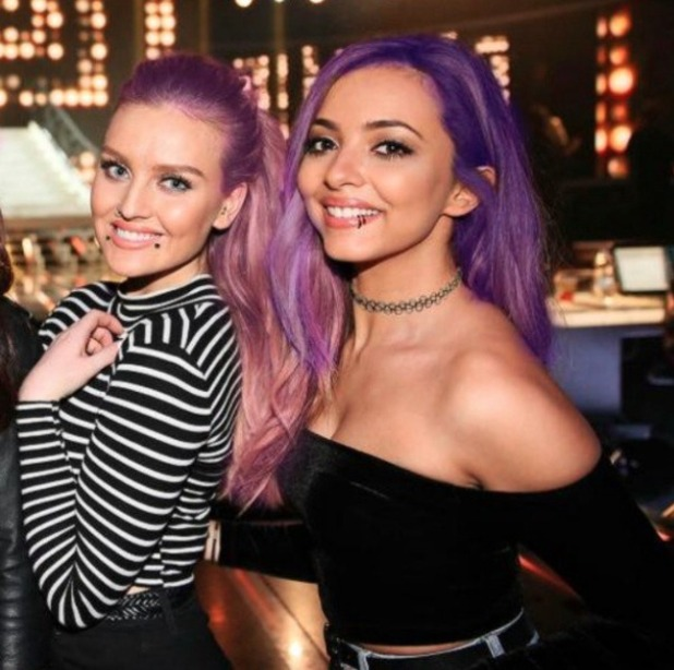 Perrie Edwards and Jade Thirlwall show off a 'new look' (?) with punk-like purple hair and piercings, 24 December 2014