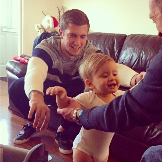 Dan Osborne shares picture of son Teddy on Christmas Day 2014.