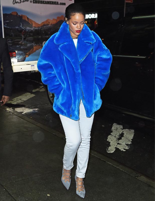 Rihanna wears smurf-style coat in New York, 23 Dec 2014