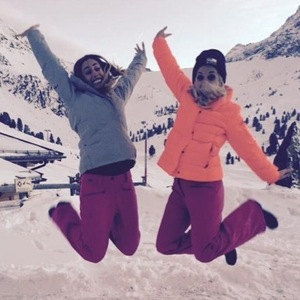 Ashley Roberts and Stacey Solomon practice for The Jump, Austria 5 January