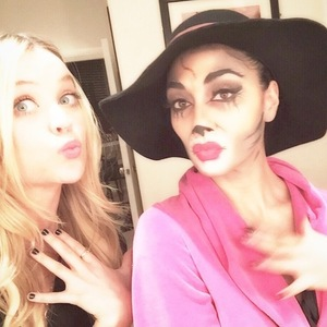 Nicole Scherzinger hangs out with Laura Whitmore after performance in Cats in London - 3 January 2015.