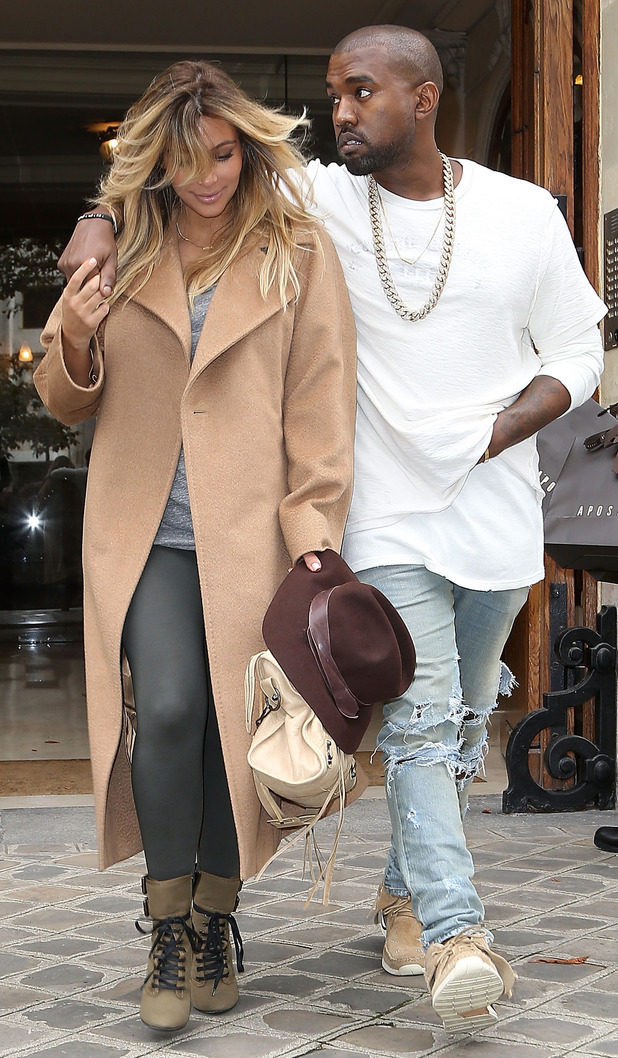 Kim Kardashian West and Kanye West step out in Paris, France - 28 September 2013