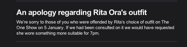 Rita Ora apology from The One Show, 5 January 2015
