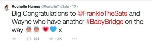 Rochelle Humes sends congratulations to Frankie Bridge - 9 Jan 2015