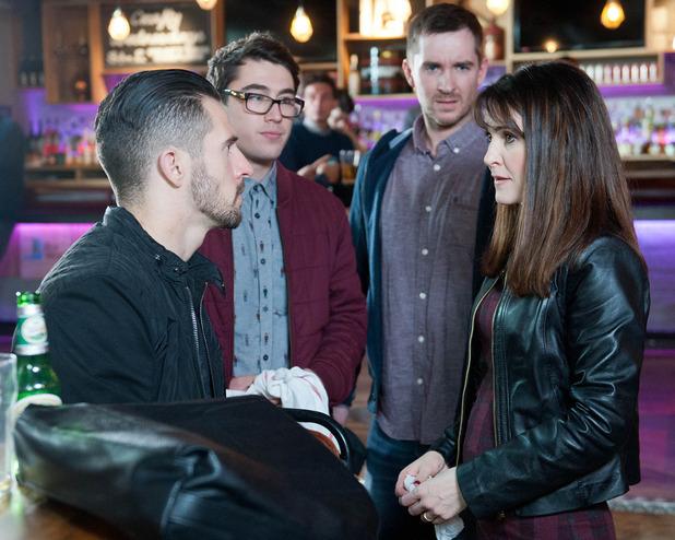 Emmerdale, Emma meets Ross, Pete and Finn, Tue 13 Jan