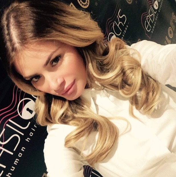 Chloe Sims shows off her curly Easilocks hair extensions, 7 January 2015