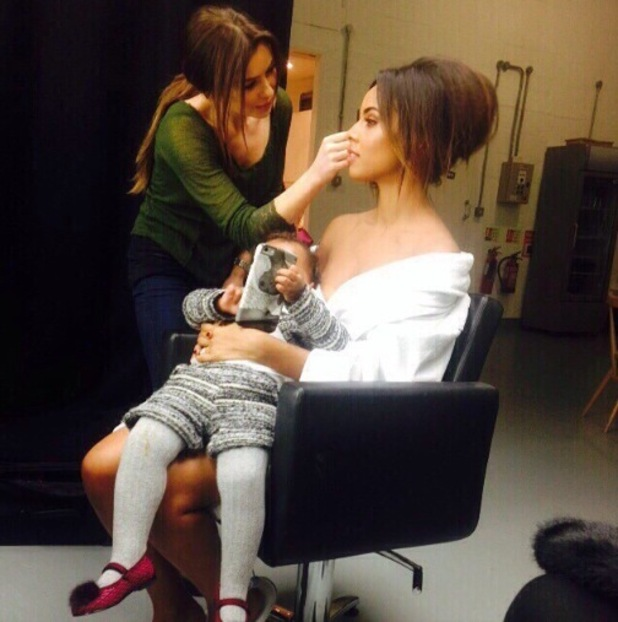 Rochelle Humes cuddles daughter Alaia-Mai backstage on photo shoot - 8 Jan 2015