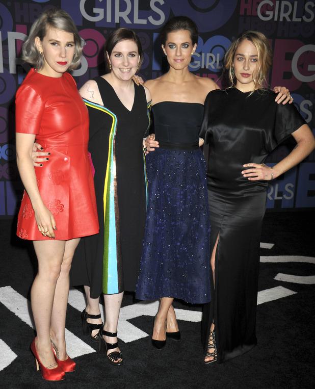 Zosia Mamet, Lena Dunham, Allison Williams, Jemima Kirke attend 'Girls' season four premiere at American Museum of Natural History in New York City, 5 January 2014