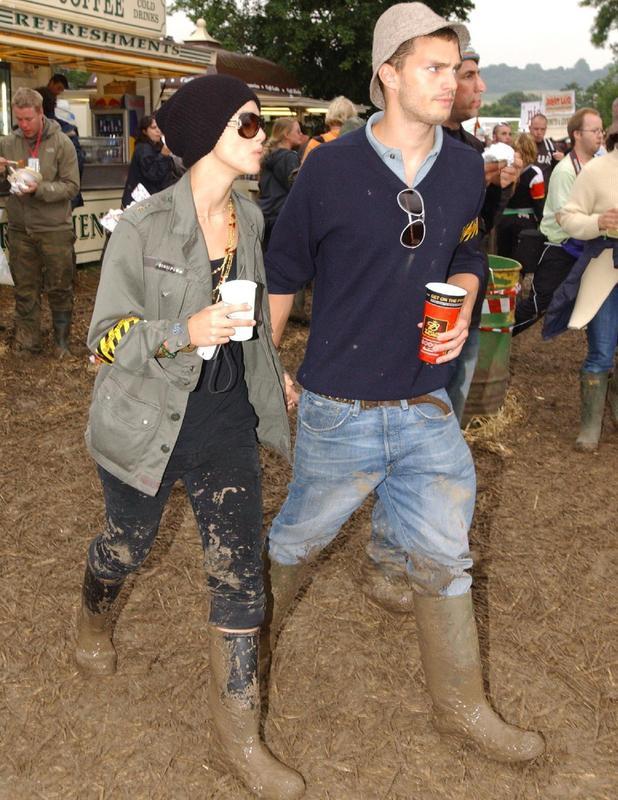 Keira Knightley and Jamie Dornan get muddy at Glastonbury Festival 2005.
