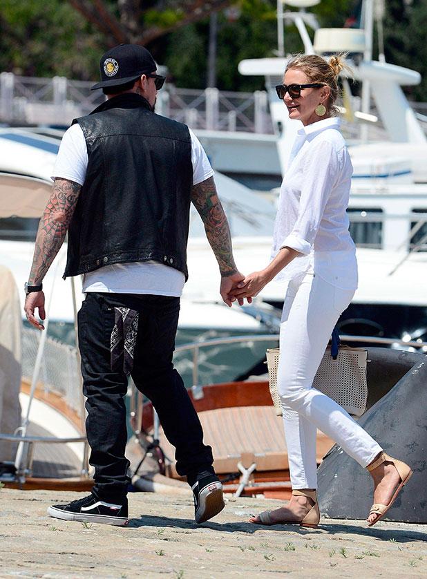 Cameron Diaz and boyfriend Benji Madden leaving Lady Britt super-yacht, Jean-Cap-Ferrat, France - 26 Jul 2014
