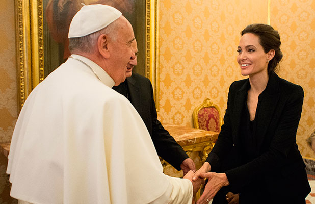 Pope Francis greets Angelina Jolie at the Vatican, 8 January 2015