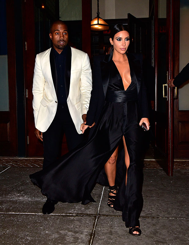 Kim Kardashian and Kanye West arrive to Greenwich Hotel on January 8, 2015 in New York City.