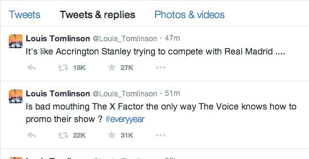 Louis Tomlinson tweets about The Voice UK promo bashing X Factor, 6 January 2014