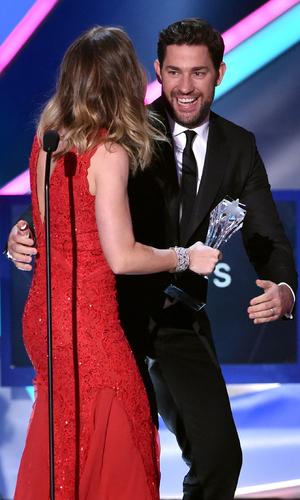 Emily Blunt and John Krasinski on stage at the Critics' Choice Awards, LA 15 January