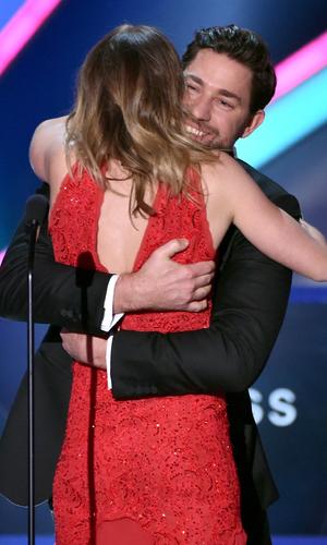 Emily Blunt and John Krasinski on stage at Critics' Choice Awards, LA 15 January