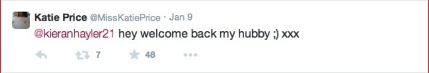 Katie Price welcomes Kieran Hayler back to Twitter - 14 Jan 2015